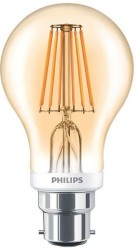 Philips LED Classic GLS Filament 7.5W, 2000K GOLD, B22, Dimmable