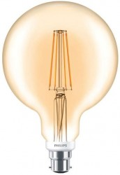 Philips LED Classic Globe Filament 7W, 2000K GOLD, B22, Dimmable