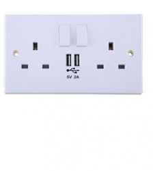 13A 2-Gang Switched Socket with Twin USB 5V/2A Charging Ports