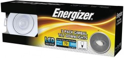 Energizer 3-PACK IP20-Rated Tilt Downlight, WHITE, 4000K, 68mm