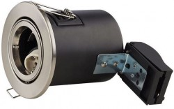 LUMiLife GU10 Fire Rated Fitting, TILT, IP20, Br.Nickel, 85mm Cutout