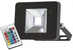 MLA 230V IP65 10W LED Black Die-Cast Floodlight RGB w/remote