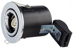 LUMiLife GU10 Fire Rated Fitting, TILT, IP20, Chrome, 85mm Cutout