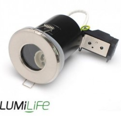 LUMiLife GU10 Fire Rated Fitting, FIXED, IP54, Br.Nickel, 75mm Cutout
