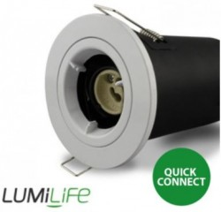LUMiLife GU10 Fire Rated Fitting, FIXED, IP20, White, 75mm Cutout