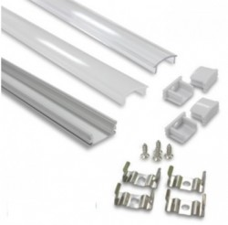 2M Aluminium Strip Profile + PC Cover and Accessories Pack