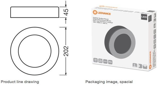 Osram Ledvance Surface Round Wall Light 13w 3000k White