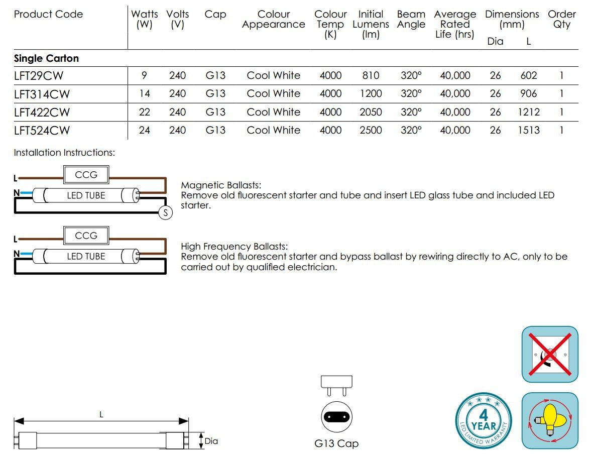 Light Spectrum Charts Data moreover Ely03 Ag Vb also Led Panel Light furthermore Titania LED tubelight 10w also 2 L  8ft Fluorscent To Led T8 Retrofit Kit Shunted Sockets Ballast  patible Tubes Only. on t8 led retrofit guide