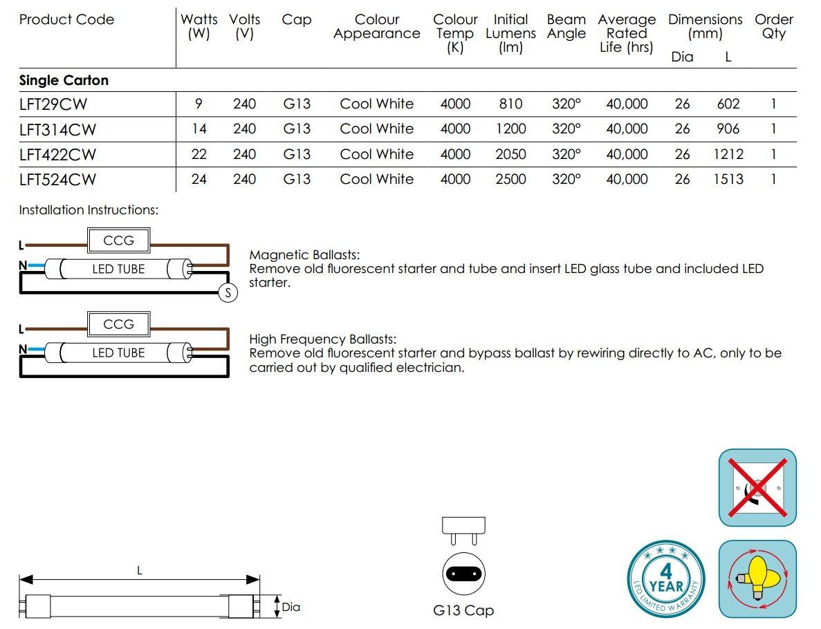 Compton Led Tube Wiring Diagram Electrical Diagrams T8 Crompton Full Glass 4ft 1200mm 22w 320deg